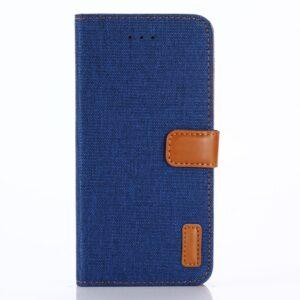 Apple iPhone X/XS PU læder Flipcover m. Jeanslook – Blå