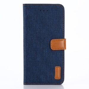 Apple iPhone X/XS PU læder Flipcover m. Jeanslook – Mørk blå