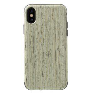 Apple iPhone X/XS Læderbeklædt TPU Cover – Beige Træ