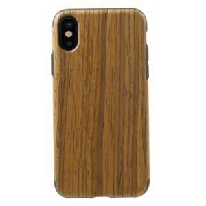Apple iPhone X/XS Læderbeklædt TPU Cover – Brun Træ