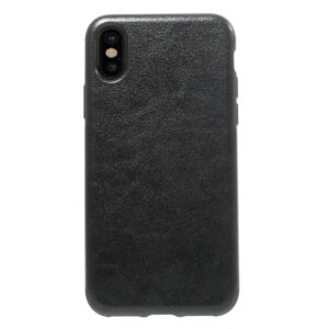 Apple iPhone X/XS Læderbeklædt TPU Cover – Sort