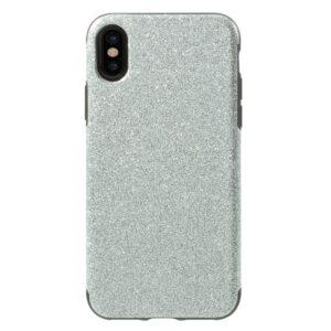 Apple iPhone X/XS Læderbeklædt TPU Cover – Sølv Glimmer