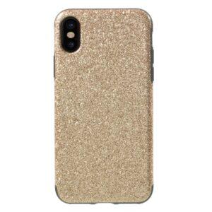 Apple iPhone X/XS Læderbeklædt TPU Cover – Guld Glimmer