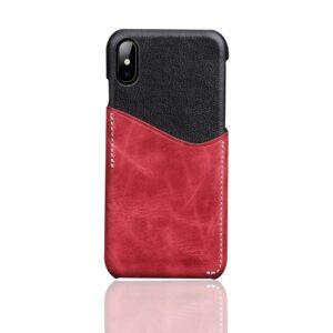 Apple iPhone X Deluxe Bagcover i Ægte Læder med Kortholder – Rød