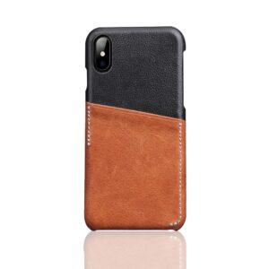Apple iPhone X Deluxe Bagcover i Ægte Læder med Kortholder – Brun