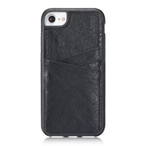 Apple iPhone 7/8 TPU Cover m. Split læder og Kortholder – Sort
