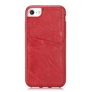 Apple iPhone 7/8 TPU Cover m. Split læder og Kortholder – Rød