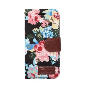 Apple iPhone 7/8 Blomstret FlipCover m. Stand – Sort
