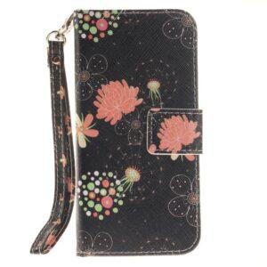 Apple iPhone 7/8 PU læder FlipCover m. Stand – Sort med blomster