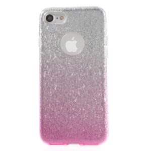 Apple iPhone 7/8 TPU Cover – Pink/sølv glimmer