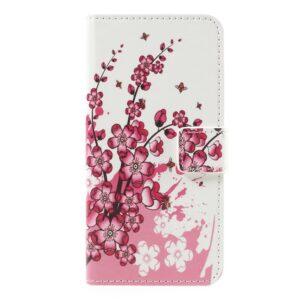 Apple iPhone 7 PU læder FlipCover m. Stand og Kortholder – Plum Blossom