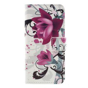 Apple iPhone 7 PU læder FlipCover m. Stand og Kortholder – Purple Flowers