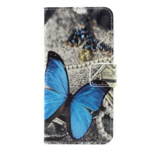 Apple iPhone 7 PU læder FlipCover m. Stand og Kortholder – Blue Butterfly