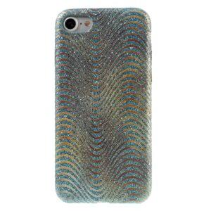 Apple iPhone 7/8 Læder beklædt Plastik Cover m. Bølger – Baby blå
