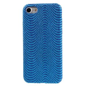 Apple iPhone 7/8 Læder beklædt Plastik Cover m. Bølger – Blå