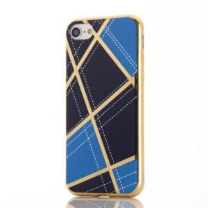 Apple iPhone 7 Geometrisk Plastik Cover – Blå