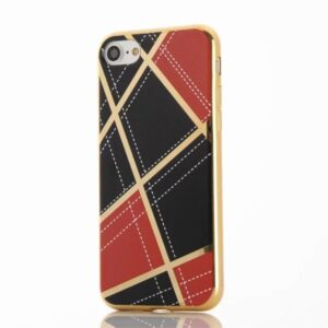 Apple iPhone 7 Geometrisk Plastik Cover – Rød/sort
