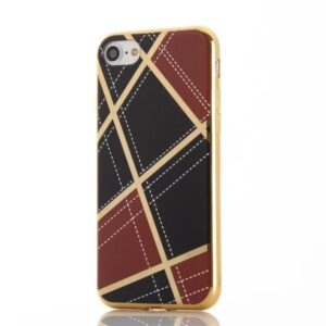 Apple iPhone 7 Geometrisk Plastik Cover – Vin rød/sort