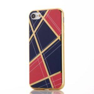 Apple iPhone 7 Geometrisk Plastik Cover – Rosa/blå