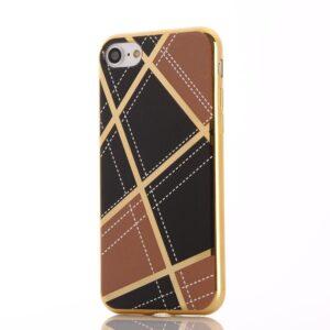 Apple iPhone 7 Geometrisk Plastik Cover – Brun/sort