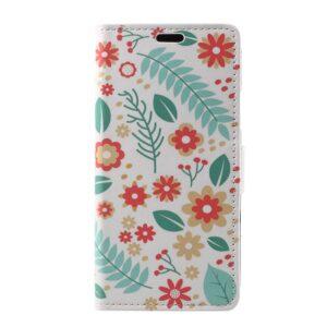 Apple iPhone X/XS PU læder Flipcover m. Kortholder – Blomster og Blade