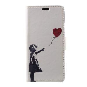Apple iPhone X/XS PU læder Flipcover m. Kortholder – Pige med Hjerte