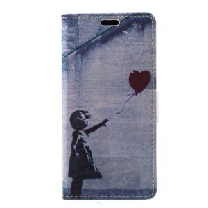 Apple iPhone X/XS PU læder Flipcover m. Kortholder – Retro Pige med Hjerte