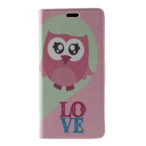 Apple iPhone X/XS PU læder Flipcover m. Kortholder – Kærlighedsugle