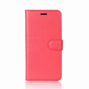 Apple iPhone X/XS Litchi Flip Cover m. Kortholder – Rød