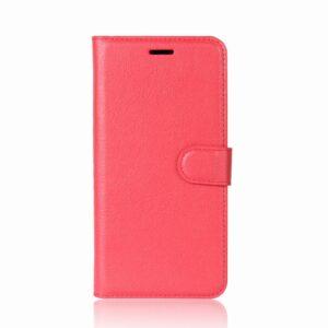 Apple iPhone X/XS Litchi Flip Cover m. Kortholder – Rød
