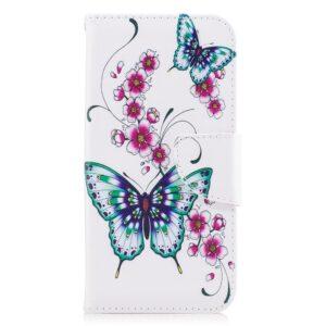 Apple iPhone X/XS PU læder Flipcover m. Kortholder – Grønne Sommerfugle og Blomster