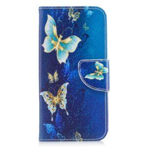 Apple iPhone X/XS PU læder Flipcover m. Kortholder – Blå Sommerfugle