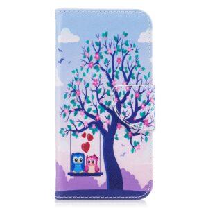 Apple iPhone X/XS PU læder Flipcover m. Kortholder – To Kærlighedsugler