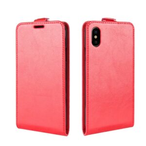 Apple iPhone X/XS PU læder Vertikal Flipcover – Rød