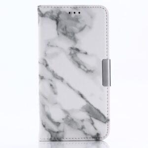 Apple iPhone X/XS PU læder Flipcover m. Kortholder – Grå Marmor