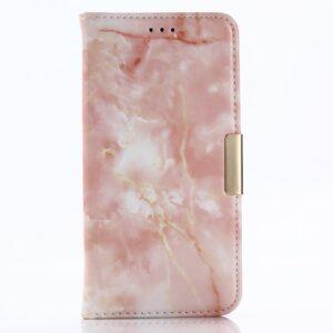 Apple iPhone X/XS PU læder Flipcover m. Kortholder – Lyserød Marmor