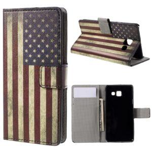 Samsung Galaxy A3 (2016) Læder Flip Design Cover m. Kortholder – Retro American Flag