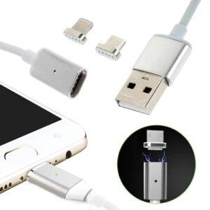 2 i 1 magnetisk 8-pin Lightning/Micro USB Oplade – og Datakabel – Sølv
