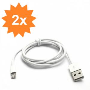 2x Apple Lightning USB Oplade- & Datakabel – Hvid 2M