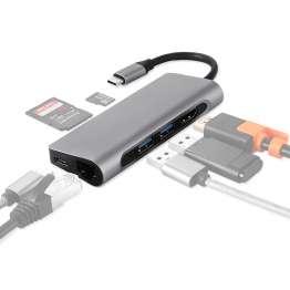 USB-C Dock med HDMI, Rj-45, 2x USB 3.0, Micro SD og SD kort